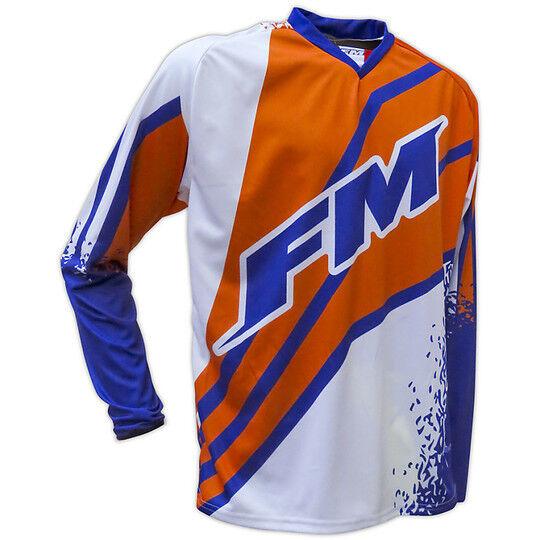 Fm racing Maglia moto cross enduro fm racing force x25 bianco arancio blu