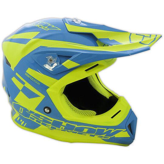 Fm racing Casco moto cross enduro in fibra o'show fm racing c4+ blu giallo