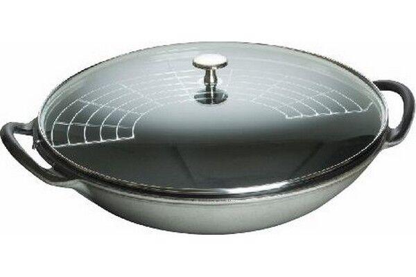 staub wok con coperchio in vetro 37 cm grigio grafite