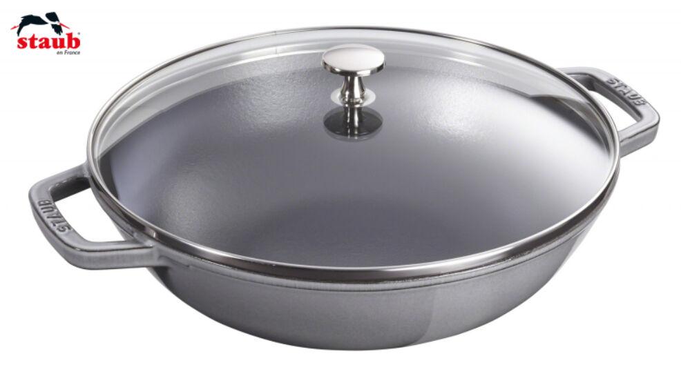 staub wok con coperchio in vetro 30 cm grigio grafite