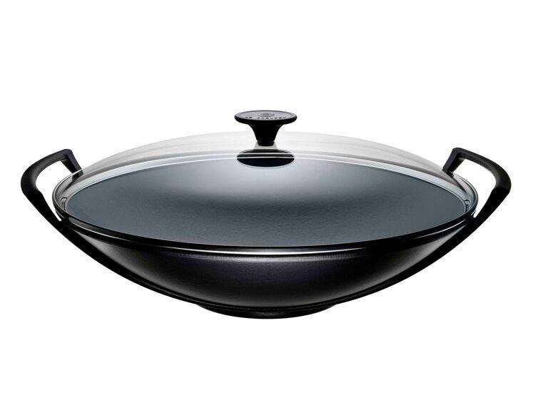 le creuset wok con coperchio in vetro 36 cm nero