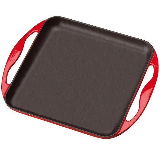 Le Creuset Griglia Liscia In Ghisa Quadrata Rosso 24x24cm