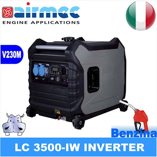generatore di corrente insonorizzato gruppo elettrogeno inverter a benzina, airmec lc 3500 iw 3,00kw 3000w