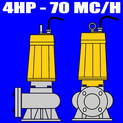 serie W300B - Elettropompa sommersa per fognature - acque nere - liquami - portata max 70mc-ora 4.0 HP