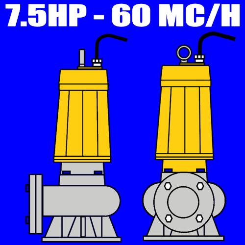 serie W550 - Elettropompa sommersa per fognature - acque nere - liquami portata max 60mc-ora 7.5 HP