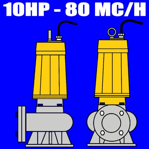 serie W750A - Elettropompa sommersa per fognature - acque nere - liquami portata max 60mc-ora 10.0 HP