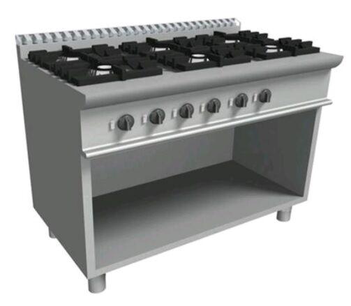 Cucina a gas 6 Fuochi CI Dim. L 120x P 70 x H 85 Potenza Gas 27 kW Modello E7/KUPG6BA.6M