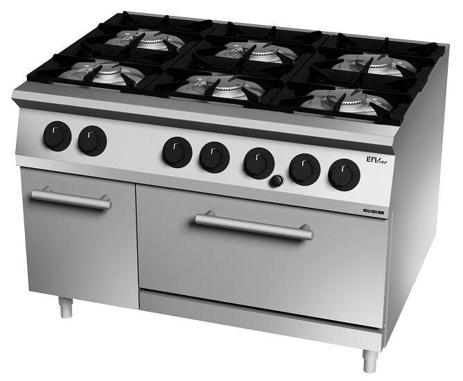 Cucina a gas Giga sei fuochi fiamma pilota forno a convezione gas Gn1/1 Dimensioni cm L120xP70x H90 Modello EM76CGG