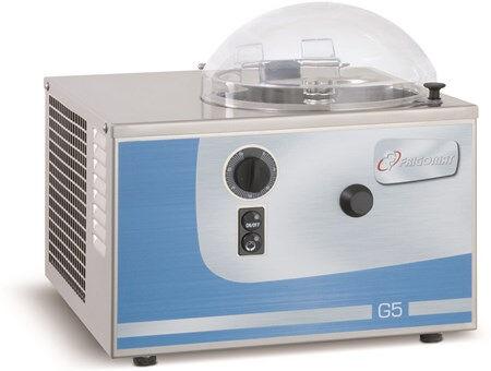 Gelatiera Da banco FRM Capacità prodotto Kg 1,7 Condensatore ad aria Produzione oraria Kg 5 Dim. Cm L 43 x P 47 x h 29 Modello G5