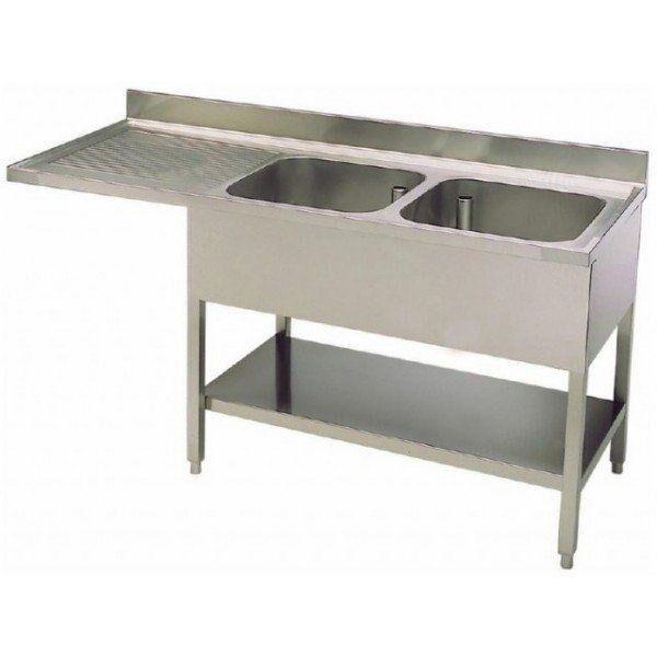 lavello/lavatoio acciaio inox due vasche con sgocciolatoio su gambe con ripiano inferiore con vano incasso lavastoviglie l 1800 p 600 h850 mm modello slgls/d186