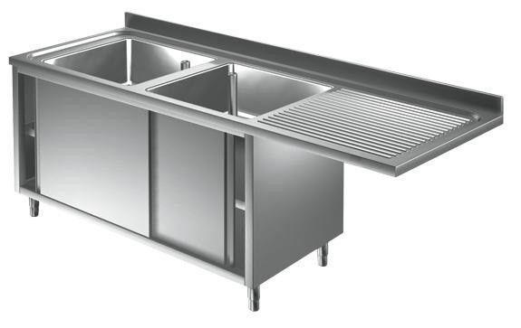 lavello/lavatoio armadiato acciaio inox due vasche con sgocciolatoio con vano incasso lavastoviglie l 2000 p 700 h 850 mm modello slals/d207