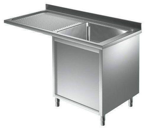 lavello/lavatoio armadiato acciaio inox una vasca con sgocciolatoio e con vano incasso lavastoviglie l 1200 p 700 h 850 mm modello slals/d127