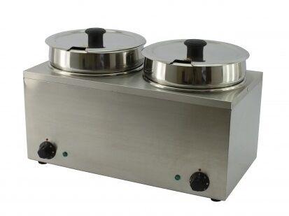 Macchina bagnomaria con pentola BK N. 2 vasche dimensioni cm ø 17 x 21 h incluse Capacità lt. 3,5 x 2 Temperatura 0/+95 °C Dim cm L 41,5 x P 21 x 32h Modello BM7