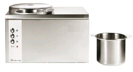 Mantecatore da banco per gelato automatico NMX Condensazione ad aria Capacitàlt 2.5 Produzione oraria massima lt 3/Kg 2 Dim Cm L 45 x P 32 x h 31,5 Modello Chef 5LAuto