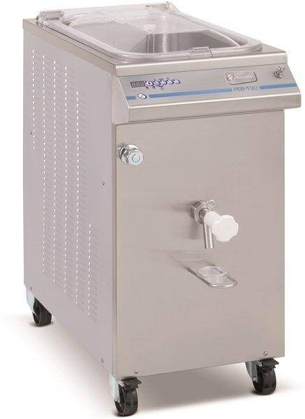 Pastorizzatore per gelato FRM Durata ciclo 2 ore Condensatore ad acqua Capacità di carico Kg 40/130 Produzione per ciclo Kg 130 Dim. Cm L 105 x P 53 x h 108 Modello PEB 130 M