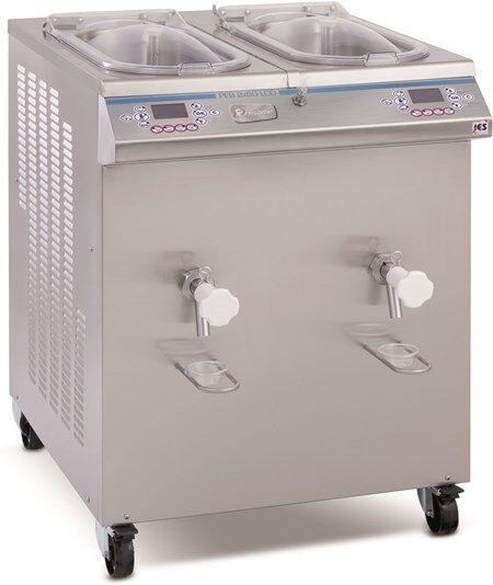 Pastorizzatore per gelato FRM Durata ciclo 2 ore Condensatore ad acqua Capacità di carico Kg 2x 20/60 Produzione per ciclo Kg 90/110 Dim. Cm L 80 x P 105 x h 110 Modello PEB 2x60 LCD