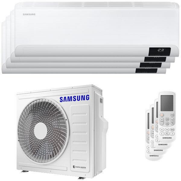 Samsung Condizionatore Samsung Cebu Wi-Fi Quadri Split 7000+7000+12000+12000 Btu Inverter A++ Wifi Unità Esterna 8,0 Kw (AJ080TXJ4KG/EU-AR07TXFYAWKNEU-4-ADD953)