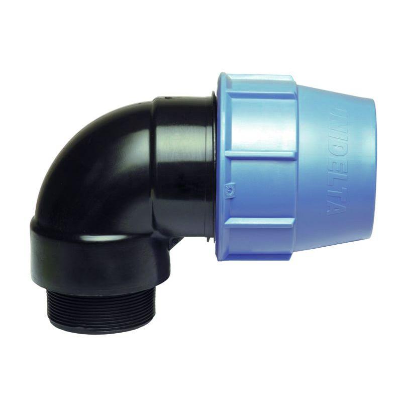 Generico Raccordo Gomito 90 Gradi Filettato Maschio A Compressione Pn16 Per Tubo Polietilene