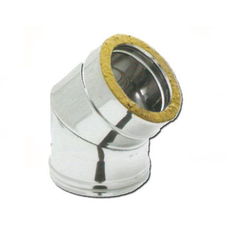 curva 45°a doppia parete coibentatato acciaio inox 80-130 mm