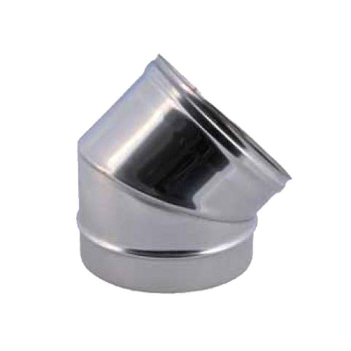 curva a 45° per canna fumaria acciaio inox aisi 304 0,5 mm diametro 100 mm