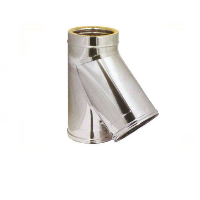 raccordo coibentato a braga 135° a doppia parete in acciaio inox diametro interno 250 esterno 300