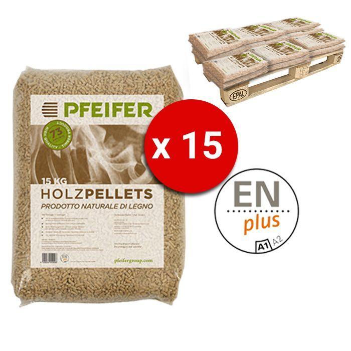 Pedana Pellet Pfeifer Holzpellets Bancali Da 15 Sacchi 15 Kg Al Pezzo Certificato Enplus Prodotto Naturale Di Legno