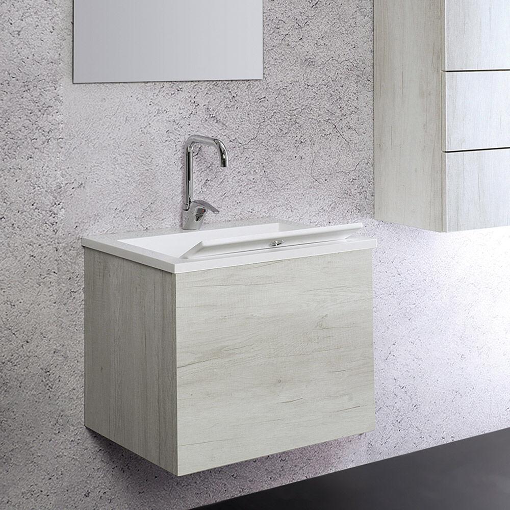 LMC - Elle Emme Ci ZEUS - Lavabo / Lavatoio con tavola e mobile sospeso finitura effetto legno olmo bianco CM 60x48