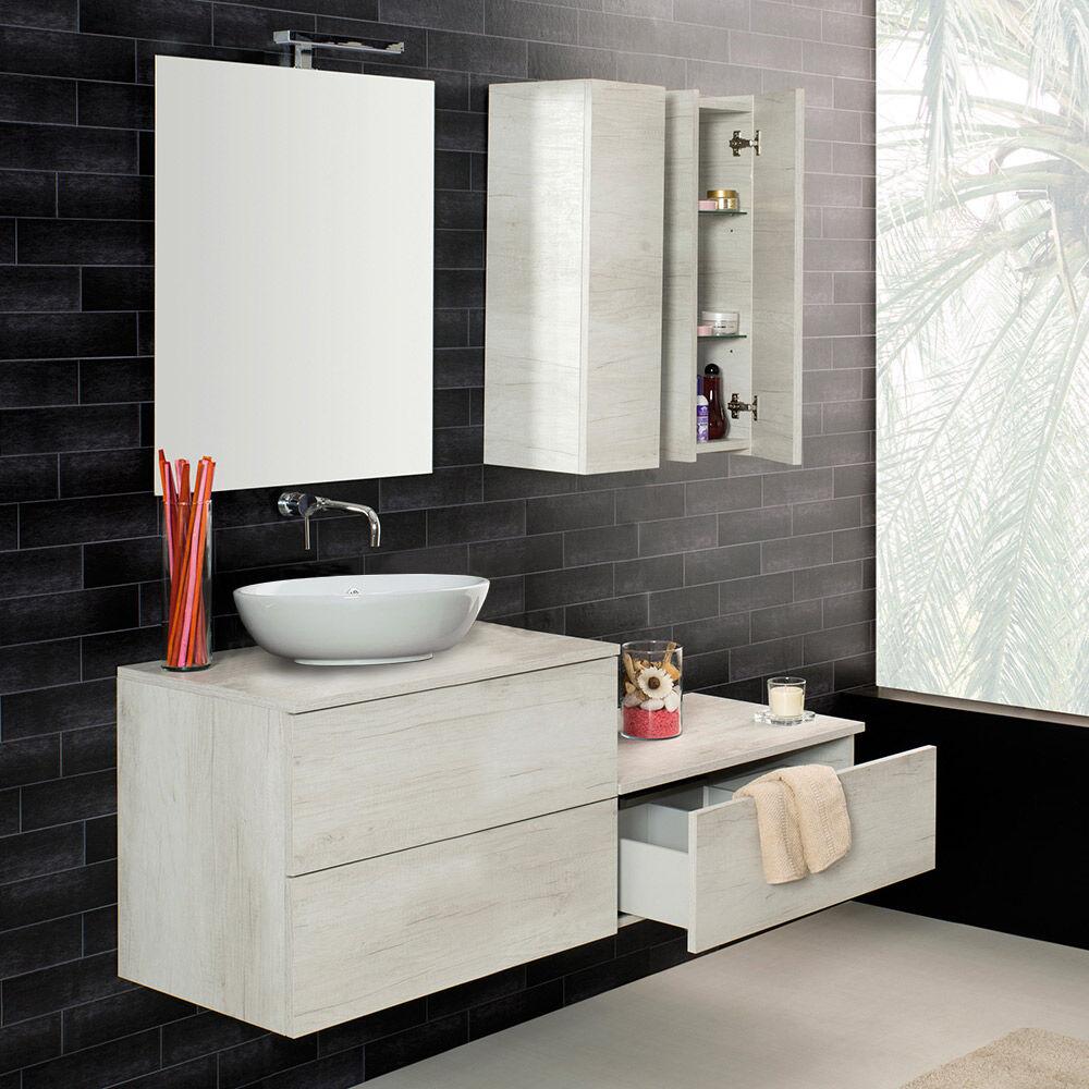 LMC - Elle Emme Ci UNIKA - Mobile sospeso con cassetti finitura olmo bianco, con lavabo d'appoggio in ceramica, cm 70-80-100x46