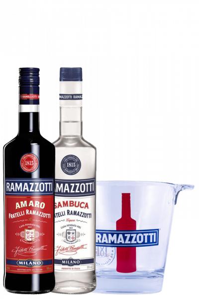 Sambuca Ramazzotti 1Litro + Amaro Ramazzotti 1Litro + 1 Glacette Ramazzotti OMAGGIO