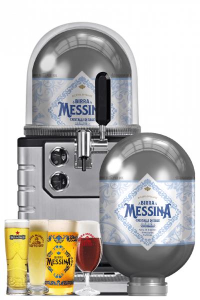 heineken spillatore per fusto blade 8 lt + 2 fusti blade birra messina cristalli di sale 8 lt