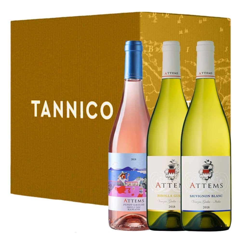 """Attems 2 2 2 Bottiglie: Friuli Pinot Grigio Doc """"ramato"""" Venezia Giulia Ribolla Gialla Igt Venezia Giulia Sauvignon Igt 2019"""