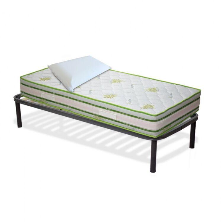InMaterassi Kit Splendor - Materasso Memory In Aloe Vera + Rete A Doghe + Cuscini Memory Kit - 80x200 Cm Singolo + Rete + 1 Cuscino