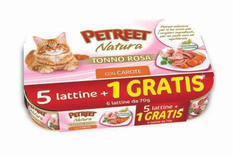 PETREET Gatto Multipack Tonno Rosa e Carote 6X70G