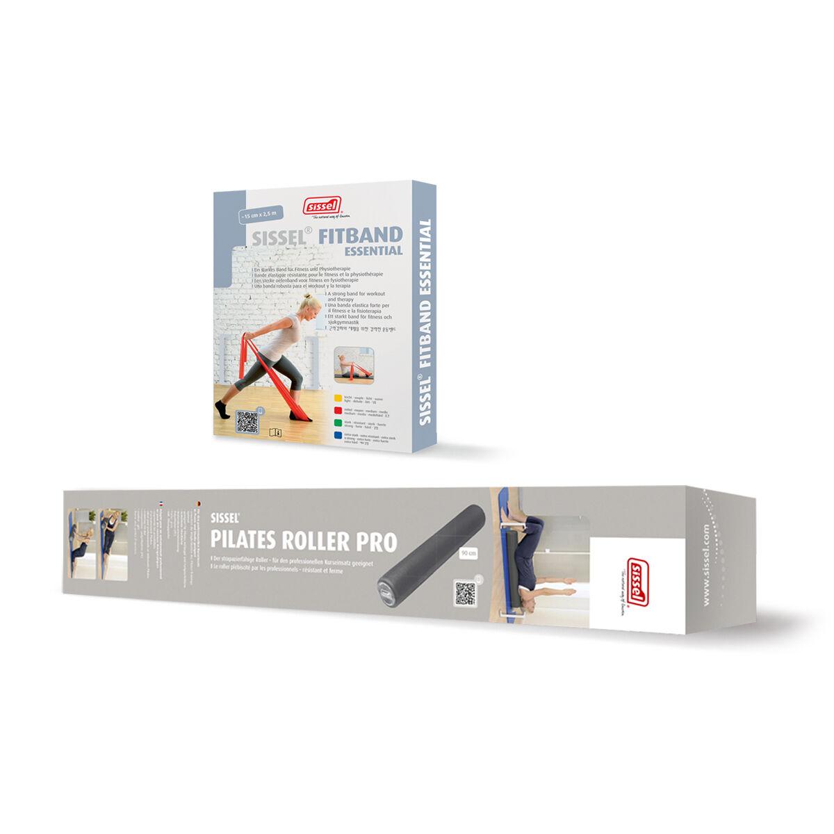 sissel kit pilates casa n°7: roller e banda elastica