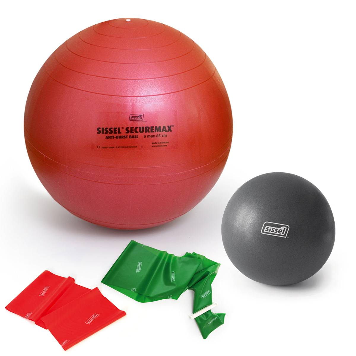 sissel kit pilates con giorgia 3: soft ball - fitball - fitband