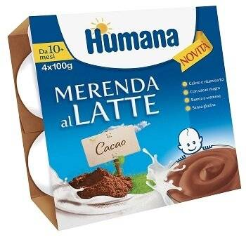 humana italia spa humana merenda al latte gusto cioccolato 100 g 4 pezzi