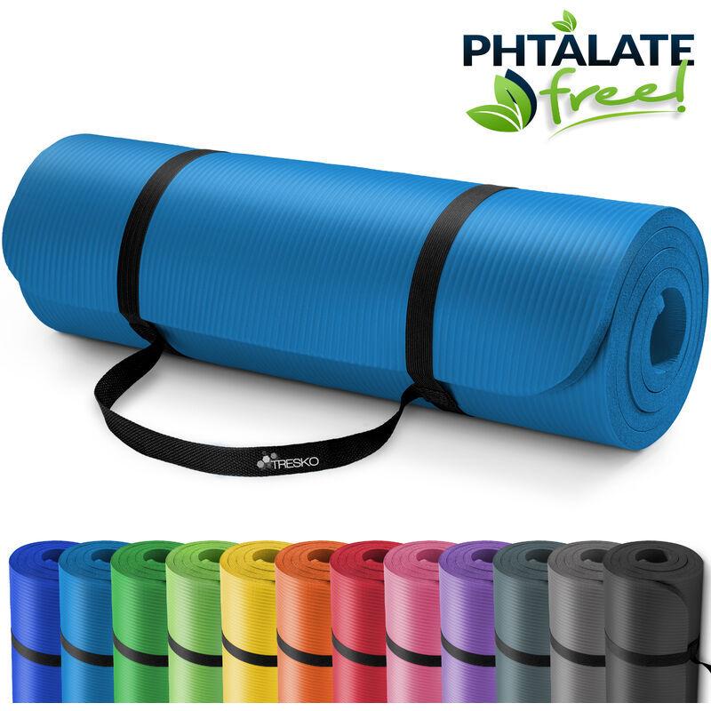 TRESKO ® Tappetino per yoga pilates tappeto ginnastica fitness 6 colori diversi  Dimensioni 185cm x 60cm in 2 spessori   non irrita la pelle   isola il