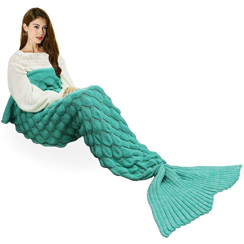 LangRay Coperta a coda di sirena, calda coperta per tutte le stagioni, divano letto, piumone, soggiorno, sacco a pelo per bambini e adulti, squama di