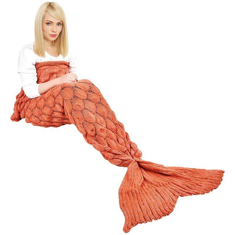LangRay Coperta a coda di sirena, coperta calda per tutte le stagioni, divano letto, piumone, soggiorno, sacco a pelo per bambini e adulti, squama di