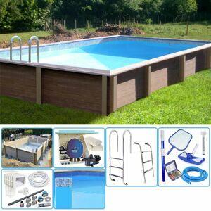 NATURALIS Kit Piscina Cemento Effetto Legno Rettangolare 4,67 X 3,24 X H 1,28 M Con Filtrazione A Sabbia E Locale Tecnico - Naturalis