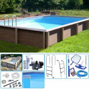 NATURALIS Kit Piscina Cemento Effetto Legno Naturalis Rettangolare 7,50 X 3,24 X H 1,28 M Con Filtrazione A Cartuccia