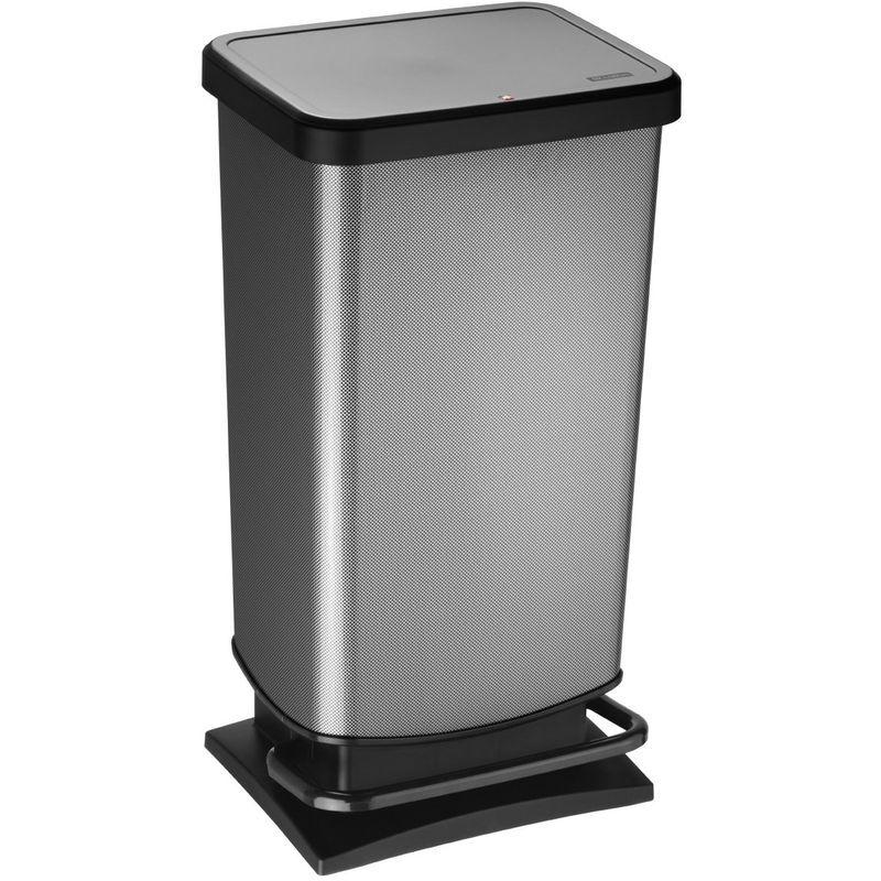 """rotho pattumiera """"paso"""", 40 litri, bidone blocca odori – 35.3x29.5x67.6 cm cestino in materiale plastico (pp) effetto acciaio inox, con meccanismo a pedale"""