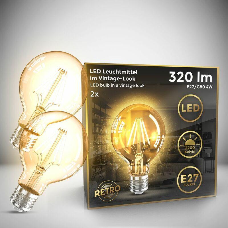 B.K.Licht Set di 2 G80 Edison lampadina d'epoca I E27 4W 2200K 320lm I bianco caldo I lampadina a LED I lampadina a LED I lampadina retrò I filamento