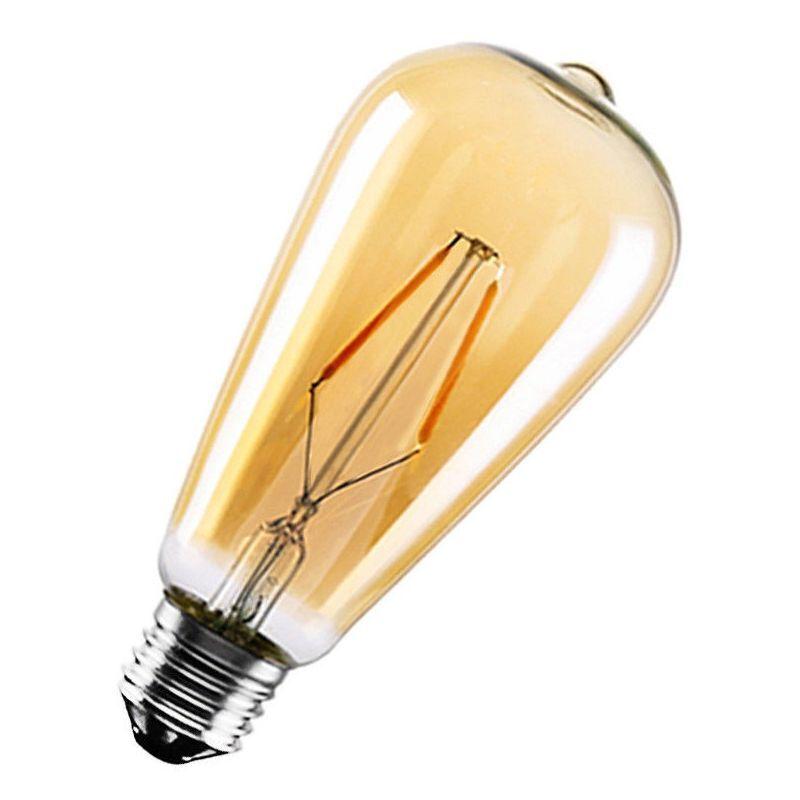 Ycdc - Lampada Lampadina COB LED E27 ST64 4/6/8/10/12W Vetro Retro' Ambrata Filamento 2200k Gialla - 10