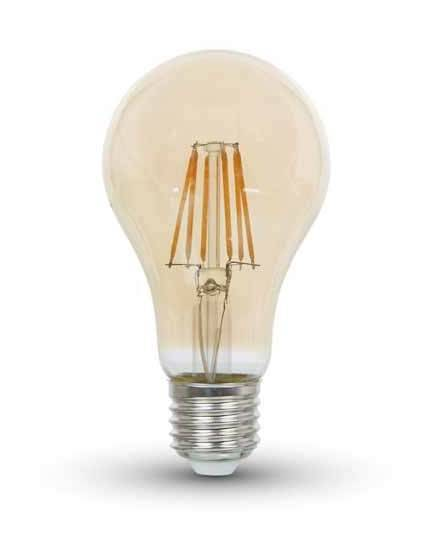 V-Tac Lampadina LED 8W filamento Amber Cover E27 A67 2200K 300° Mod. VT-1958