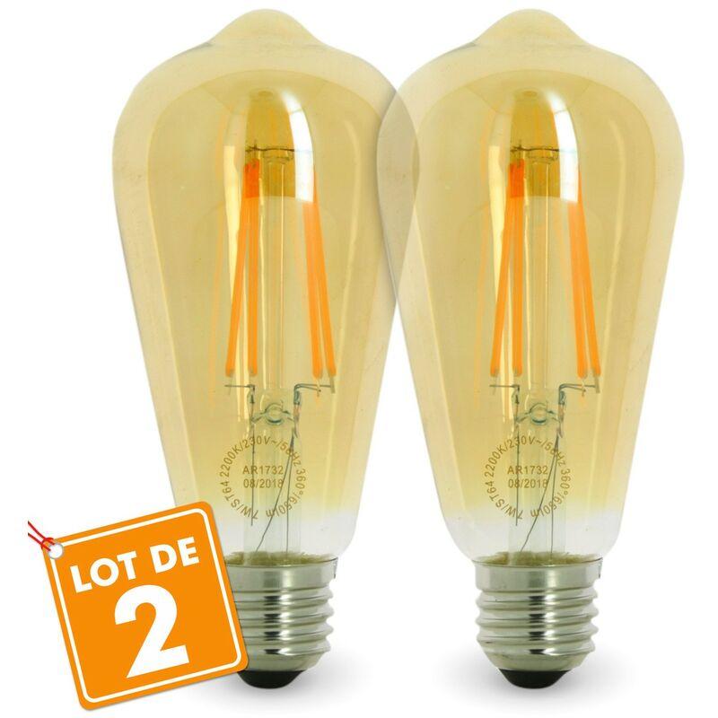 ECLAIRAGE DESIGN Set di 2 LAMPADINE LED E27 7W ST64 2200K Tipo Edison Température de Couleur: Bianco caldo 2200K