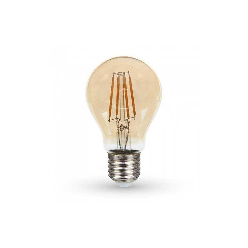 V-TAC PRO VT-266 6W Lampadina led filamento chip samsung 6W E27 A60 vetro ambra bianco caldo 2200K - SKU 286