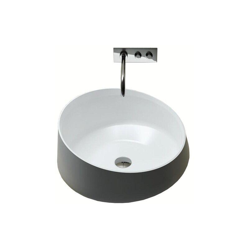 relax - lavabo d'appoggio a libera installazione in solid surface Ø 42.4 cm - marechiaro