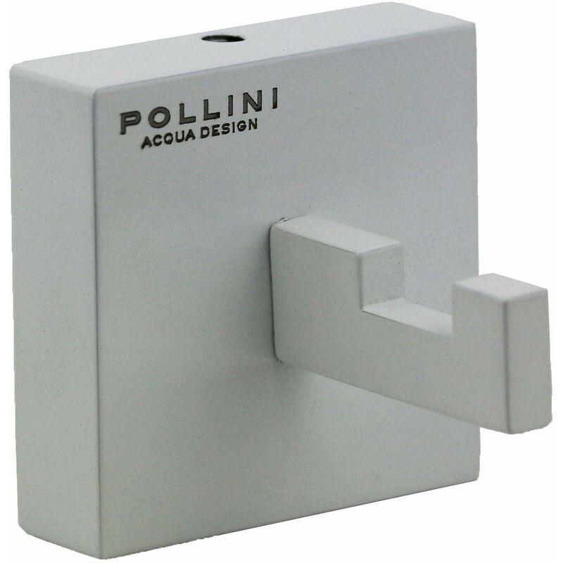 pollini acqua design porta accappatoio cube p1007   bianco opaco - pollini acqua design