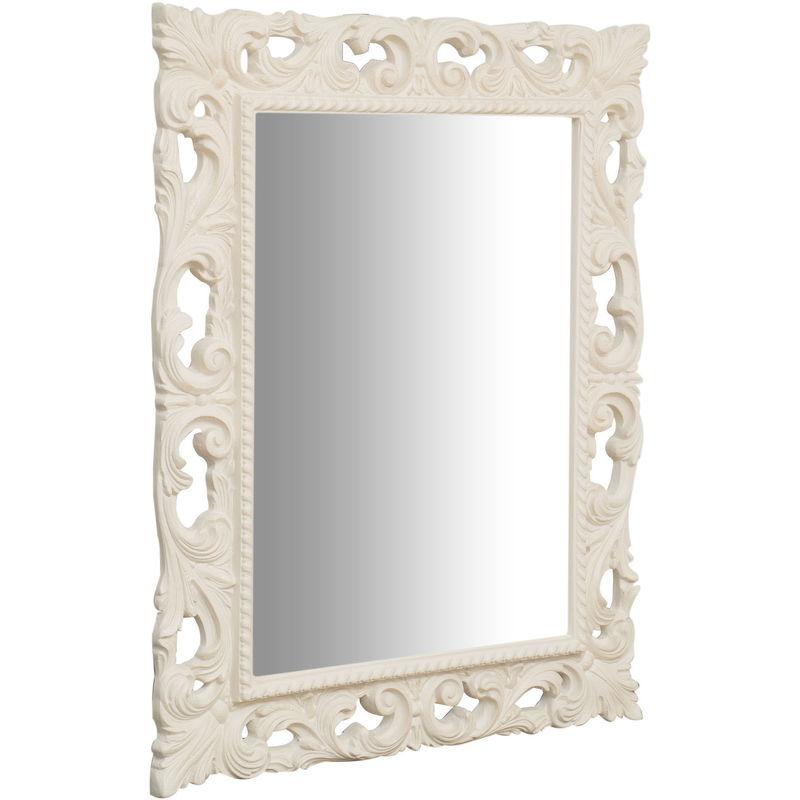 BISCOTTINI - Specchio Specchiera da Parete e Appendere IN LEGNO FINITURA BIANCA ANTICATA MADE IN ITALY